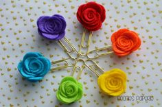 Felt Flower on Gold Planner Paper Clip for Your Erin Condren Filofax Kikki K Planner Accessories Bookmark Rainbow Colors by PeoniesPaperie on Etsy (null)