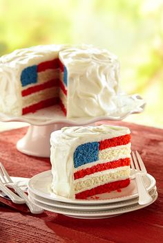 Flag Cake Layers and layers of buttery Red White and Blue cake form the perfect edible American flag.Layers and layers of buttery Red White and Blue cake form the perfect edible American flag. 13 Desserts, 4th Of July Desserts, Brownie Desserts, Fourth Of July Food, Delicious Desserts, 4th Of July Cake, Fourth Of July Recipes, Baking Desserts, Coconut Dessert