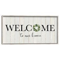 """Renew your entryway or mudroom with our Welcome To Our Home Wreath Wall Plaque! This charming plaque is perfect for creating a warm and inviting space. Plaque measures 24L x 1.5W x 12H in. Crafted of wood composite Off white frame finish Cream background finish Features the phrase """"welcome to our home"""" in black lettering Accented with a wreath Hues of green, cream, and black Weight: 4 lbs. Comes ready for wall mou Entryway Wall Decor, Wall Art Decor, Wall Decorations, Entryway Quotes, Wall Plaques, Wall Signs, Porch Wall, Holly Springs, Chalkboard Signs"""