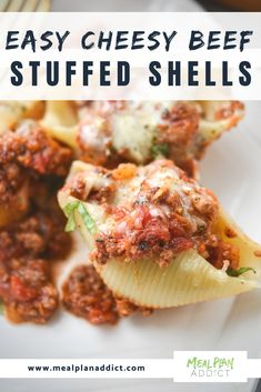 Easy Cheesy beef stuffed shells are a fun twist on the every day spaghetti and meat sauce. You will have the whole family wanting to help with this pasta dinner! Ground Beef Stuffed Shells, Stuffed Shells With Meat, Cheese Stuffed Shells, Stuffed Shells Recipe, Healthy Stuffed Shells, Jumbo Shell Recipes, Meat Recipes, Cooking Recipes, Recipies