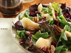 Pear and Greens Salad with Maple Vinaigrette  Wow, this is a must do on my list, Maple Vinarigrette, awesome!