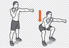 Single-Arm Front Squat http://www.menshealth.com/fitness/kettlebell-workout-abs/slide/2
