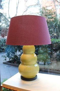 Lámpara de Mesa Color Lima Cerámica | Pottery Table Lamp Lime Color. Detana, Madrid