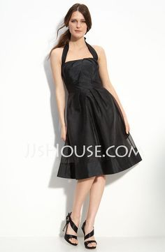 Little Black Dresses - $99.99 - A-Line/Princess Halter Knee-Length Taffeta  Organza Little Black Dresses With Ruffle (043004242) http://jjshouse.com/A-line-Princess-Halter-Knee-length-Taffeta--Organza-Little-Black-Dresses-With-Ruffle-043004242-g4242