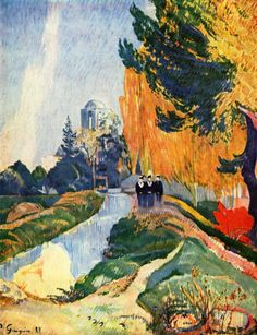 Paul Gauguin (1848–1903):  Les Alyscamps'   Date1888 .  (Synthetist artists aimed to synthesize three features: The outward appearance of natural forms. The artist's feelings about their subject. The purity of the aesthetic considerations of line, colour and form).