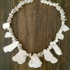 Howlite Necklace Handmade Howlite Necklace Bought in New Mexico 100% Authentic White Turquoise Natural Stone NEVER WORN BRAND NEW  Beautiful statement necklace! Jewelry Necklaces