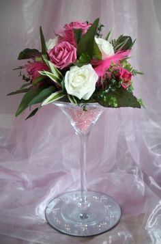 FOR HIRE, Martini Glass Vase Centrepiece Wedding Party Flowers Table Decoration