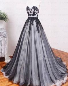 black Sweetheart long A-line lace appliques prom dress, 2017 evening gown, PD1318