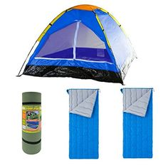 Happy Camper Two Person Tent by Wakeman Outdoors Venture Products LLC Outdoors Travel Light Classic Camp Pad 25 x 78 Green and Ozark Trail Envelope 40F Sleeping Bag Blue 2 pack Bundle *** Be sure to check out this awesome product.