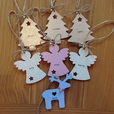 Handcrafted wooden Christmas decorations. Personalised for you. Find me on Facebook - www.facebook.com/jaxinabox Wooden Christmas Decorations, Tree Decorations, Christmas Crafts, Christmas Ornaments, Holiday Decor, Wooden Crafts, Diy And Crafts, Painted Wooden Signs, Small Trees