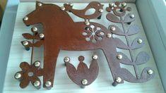 corten steel decor, metal wall art, laser cut metal decor, dalarna horse, scandinavian style