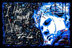 I HATE MYSELF Technique mixte sur toile de 90cm x 60cm.