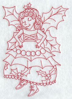 Holly Christmas Fairy (Redwork)