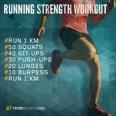 The Running Strength Workout is designed to improve your strength using simple body weight moves and pits you against the clock so you can measure your progress easily! It also combines strength training with short runs in order to get you working at a faster pace.