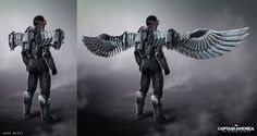 "Concept art by Josh Nizzi for Falcon/Sam Wilson's uniform from ""Captain America:The Winter Soldier"" (2014)."