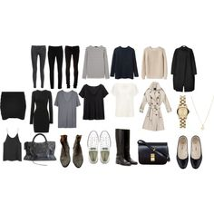 """Basics for 5 piece french wardrobe"" by trenchcoatandcoffee on Polyvore"