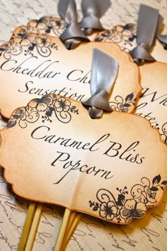 Vintage Inspired Candy Buffet Labels on Skewers - Set of  5 You Choose Ribbon Color. $25.00, via Etsy.