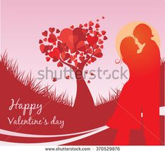 Valentine's Day background with a kissing couple silhouette, heart shaped tree - stock vector