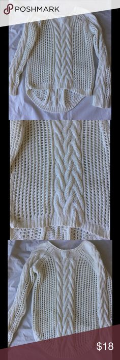 Buffalo David Bitton Cable Knit Sweater High Low Cable knit open weave sweater. High in front low in Back. Ivory. Excellent condition. Buffalo David Bitton Sweaters Crew & Scoop Necks