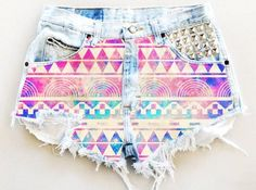 Aztec Print High Waisted Shorts - Ripped Aztec Print High Waisted Shorts