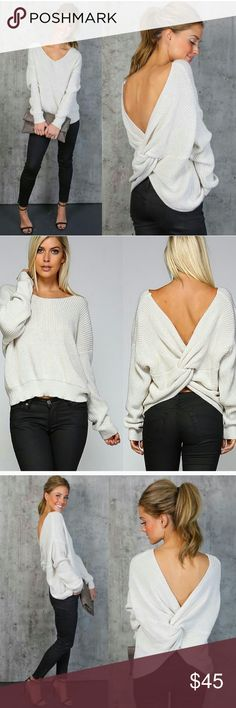 NWOT twisted open back sweater! Reposh never worn, NWOT sweater. so unique with twisted open back to it. Very light gray, almost white color. Ribbed 80% acrylic 20% cotton material. Will add more pics of actual product when home from work! Sweaters