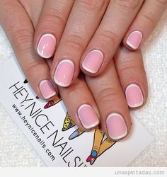 gel nails, pink with white edges