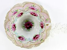 Antique Cup and Saucer, Bone China Teacup, Hand Painted Tea Cup and Saucer 12459 Vintage Cups, Vintage China, Teapots And Cups, China Tea Cups, My Cup Of Tea, Tea Cup Saucer, Bone China, Tea Time, Tea Party