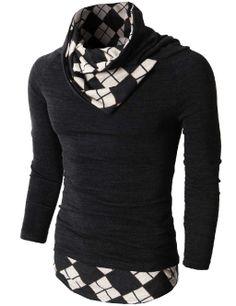 Mens Knited Turtleneck Slim Fit Pullover Sweater Patterned Turtleneck Point #doublju