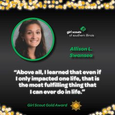 Allison LaSalvia from O'Fallon, IL earned the Girl Scout Gold Award by building a youth garden at Scott Air Force Base.