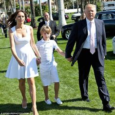 Donald Trump attended the Trump Invitational Grand Prix with his wife Melania and their son Barron