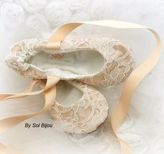 Wedding Flats Ivory Champagne Gold Ballet Flats Bridal by SolBijou