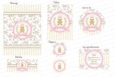 Kit Digital Provençal Ursinha Princesa Rosa e Bege - Floral e Listras - Charme Papeteria