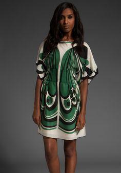 ANNA SUI Deco Butterfly Print Dolman Sleeve Dress
