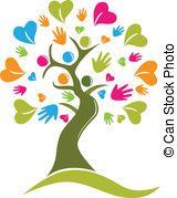 Vector Of Tree Hands Hearts Figures Icon Card Royalty Free Cliparts, Vectors, And Stock Illustration. Helping Hands Logo, Logo Mano, Hope Logo, Hands Icon, Family Logo, Tree Logos, Clip Art, Draw On Photos, Heart Hands
