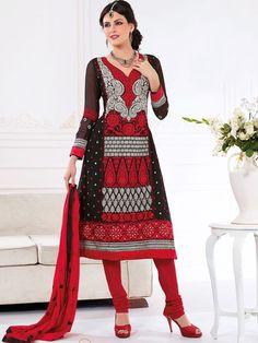 Black and Red Salwar Material
