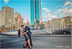 Stylish Boston engagement session, John Hancock Tower, Street photo shoot, Dancing in the streets of Boston.