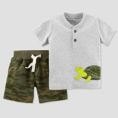 Baby Boys' 2pc Camo Turtle Shorts Set - Just One You made by carter's Green NB, Gray
