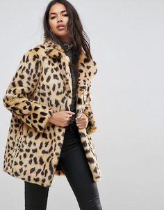 ASOS Faux Fur Coat in Leopard Print - Multi