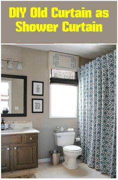 Old Curtain into Shower Curtain - 24 DIY Home Decor Projects Using Old Curtains