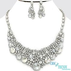 HIGH END CLEAR CHUNKY CRYSTAL WEDDING FORMAL NECKLACE JEWELRY SET CHIC & TRENDY #Unbranded