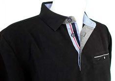 caea5ff8220 Polo Stil Park noir col jeans liseré france manches longues et poche