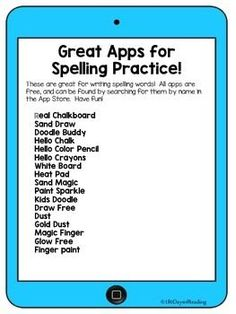 FREE Printable!~ List of apps to practice writing spelling words at home or in the classroom.