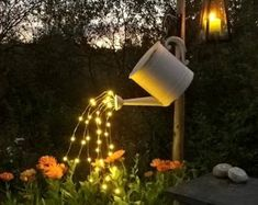 Waterfall Fairy Lights (Watering Can Lights) - 5 Six-Ft Strands, 20 Warm White LEDs per strand total). Backyard Lighting, Outdoor Lighting, Lighting Ideas, Lighting Design, Water Can Decor, New Hampshire, Warm White Fairy Lights, Metal Watering Can, Led Stripes