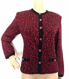 ST JOHN COLLECTION Red & Black Animal Print Santana Knit Cardigan - Size 6 - EUC #StJohn #BasicJacket