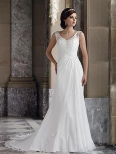 White Dress V-neck Sheath Chiffon Wedding Dress