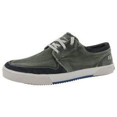 Skechers Mens 64021 Dario Morrie Canvas Fashion Sneaker, Charcoal, US 11.5, Men's, Size: 11.5 D(M) US, Black