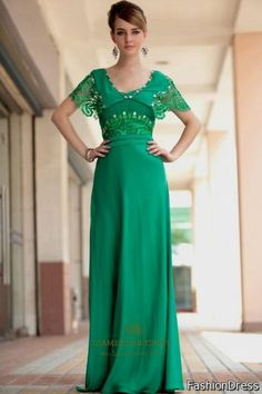 Cool long green dress with sleeves 2017-2018