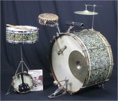 The earliest multi-percussion setups, presented and explored Ludwig Drums, Drum Pedal, Vintage Drums, Jazz Funk, Tambourine, Snare Drum, Band Photos, Custom Guitars, Drum Kits