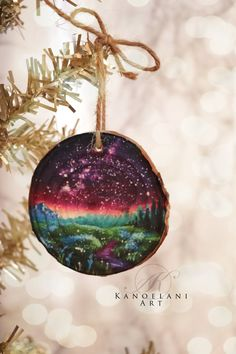 Wood Slice Ornament - Landscape Painting - Art Prints - Milky Way - Unique Gifts - Custom Painted Wood Slice - Christmas Ornament Night Sky Painting, Mystical Forest, Painted Ornaments, Galaxy Art, Fantasy Landscape, Wood Slices, Beautiful Paintings, Custom Paint, Painting On Wood