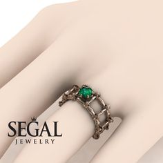 Yellow Gold Engagement Ring by Segal Jewelry Elegant Engagement Rings, Rose Gold Engagement Ring, Wedding Rings Rose Gold, Wedding Ring Bands, Gold Wedding, Dream Wedding, Green Emerald Ring, Emerald Earrings, Beautiful Rings